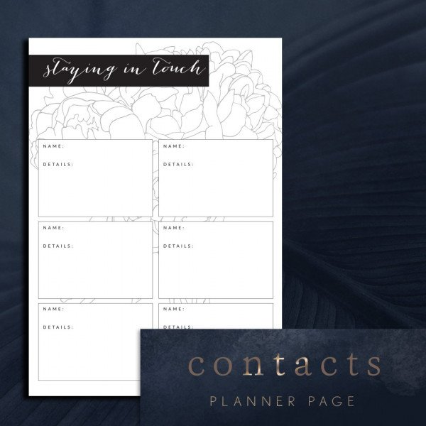 contacts and addresses planner page