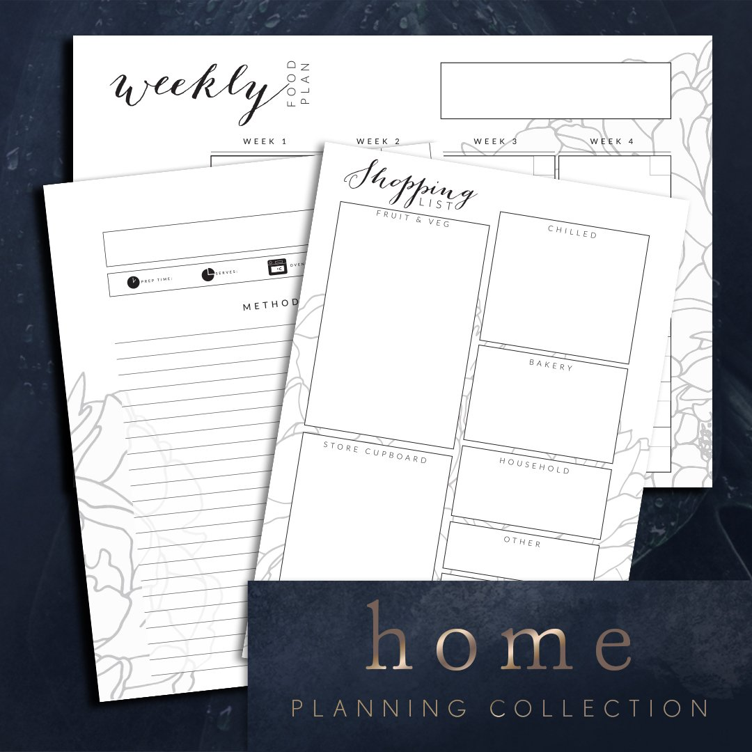 Planner printables shopping list, recipe card, food planning bundle