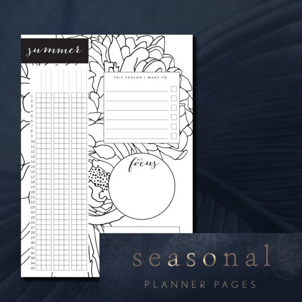 seasonal planner pages with grid tracker