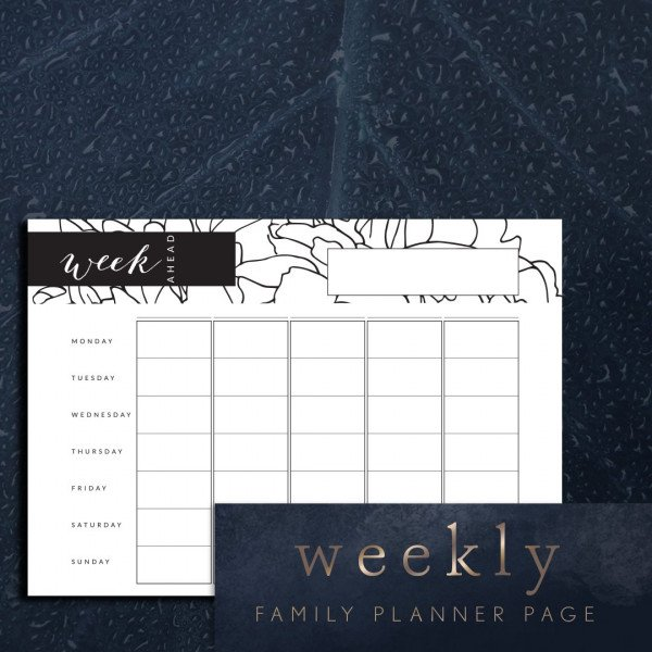 Week ahead family planner 5 columns