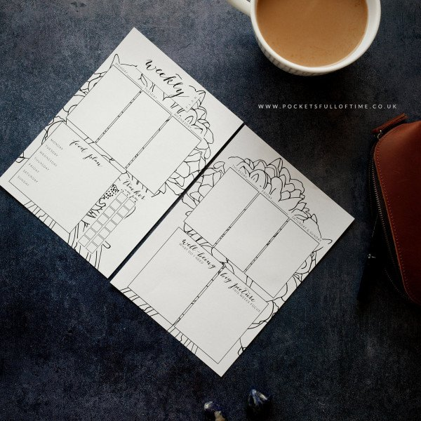 weekly printable planner page with a 12 week focus food plan and tracker