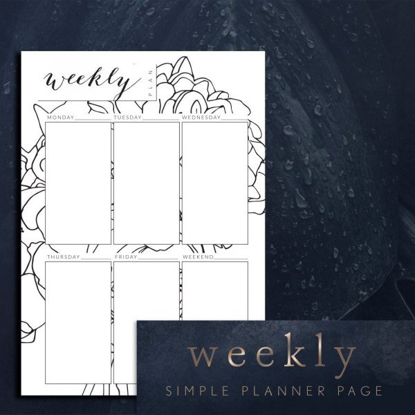 planner printable simple week ahead portrait