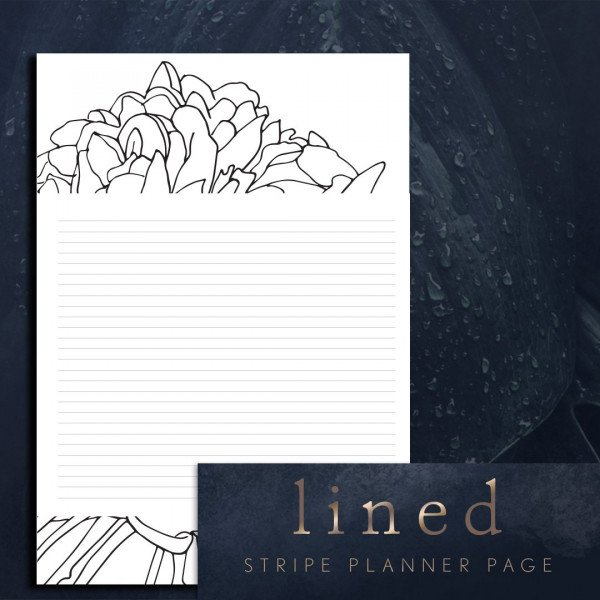 Stripe lined blank page planner printable