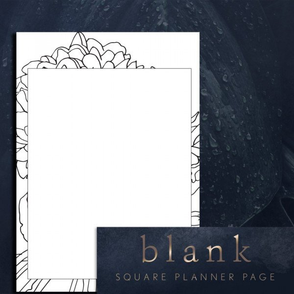 Square blank page planner printable