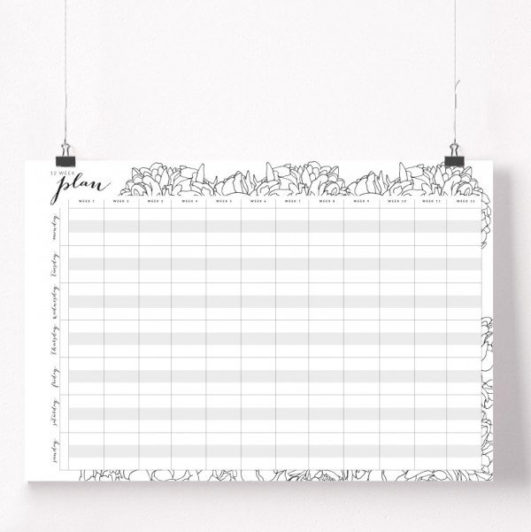 12 week wall planner poster