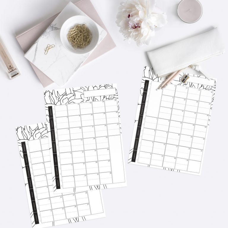 evergreen month ahead planner printables