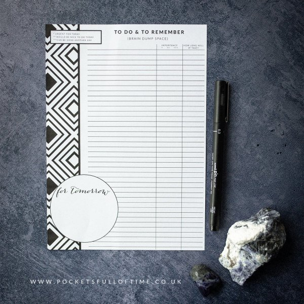 pocketsfulloftime brain dump printable planner