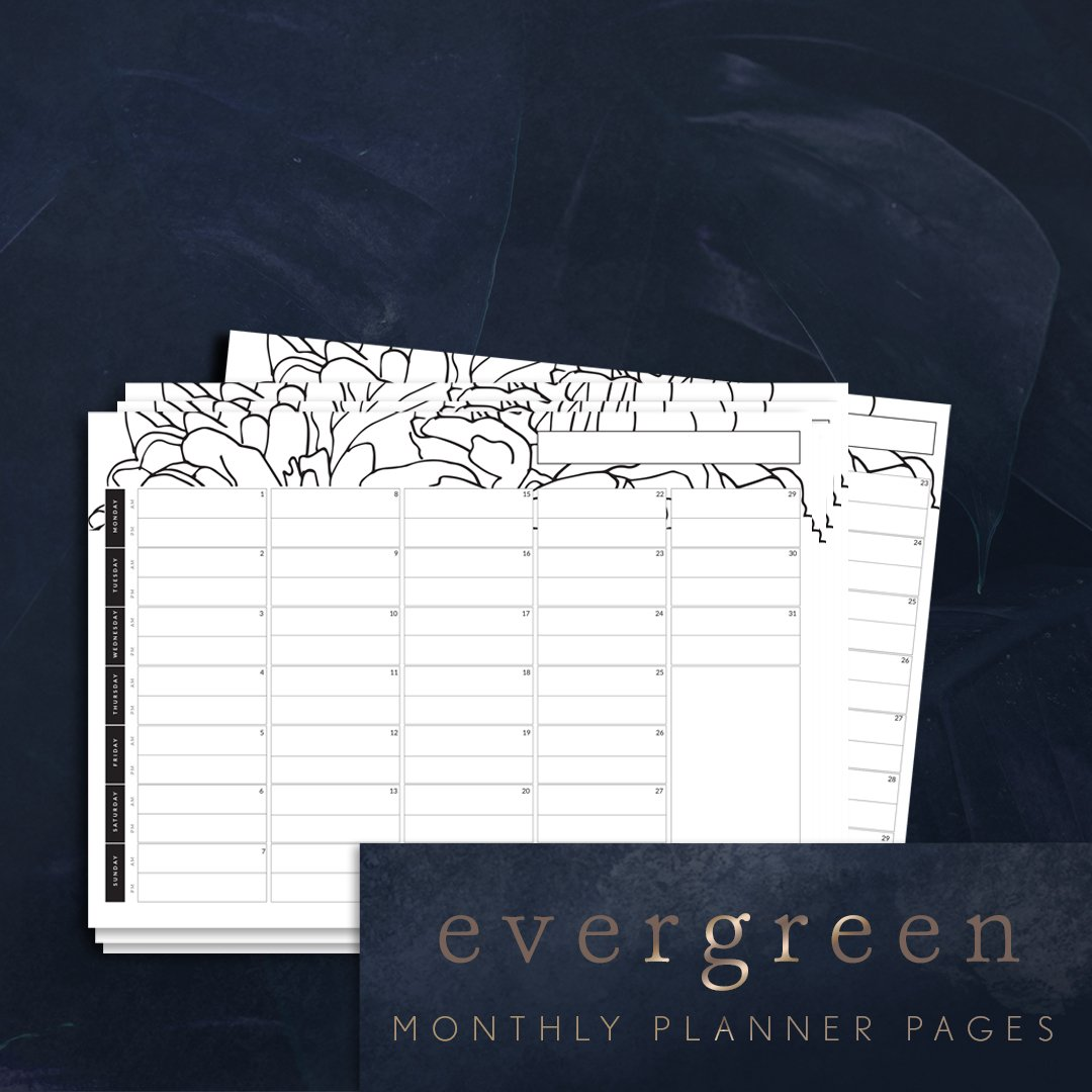 evergreen month ahead printable planner