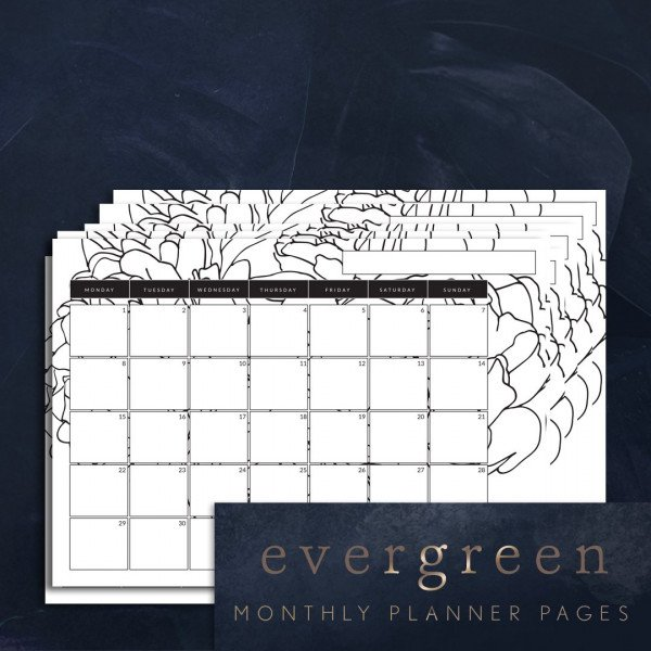 Evergreen monthly planner printable