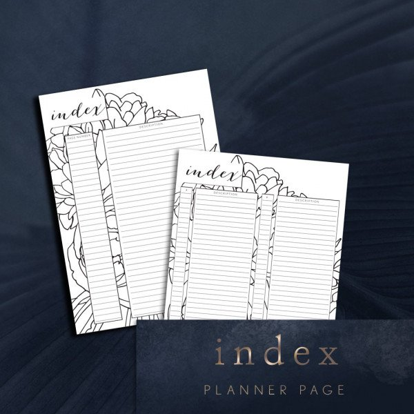 Printable index planner page one col