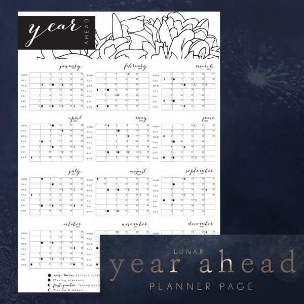 12 months to a page year ahead dated calendar Uk moons peony design