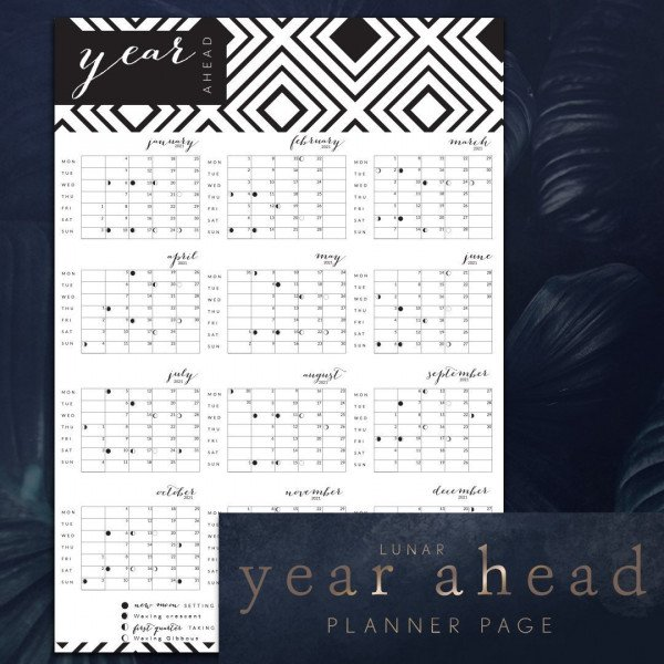 12 months to a page year ahead dated calendar Uk moons topaz design