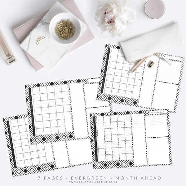 Evergreen monthly planner printable desktop month ahead