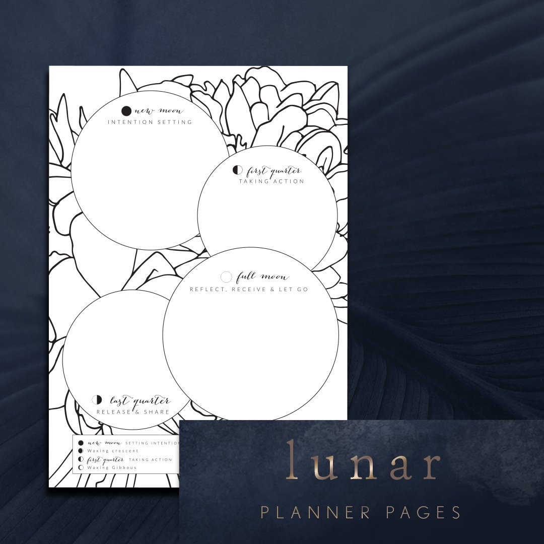 Lunar intention setting planning page printable