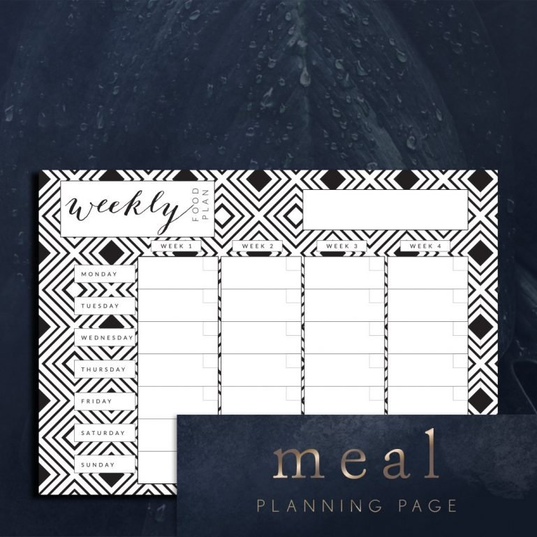 Planner pages weekly food planning