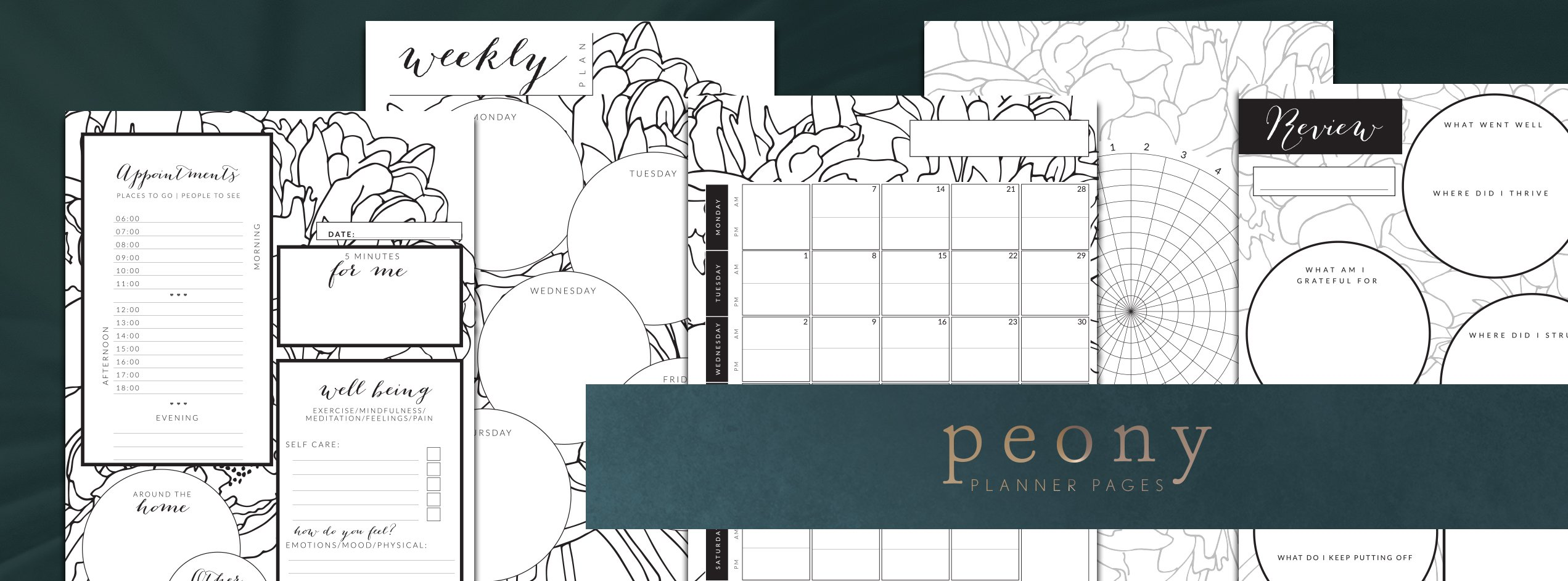 pocketsfulloftime peony planner pages