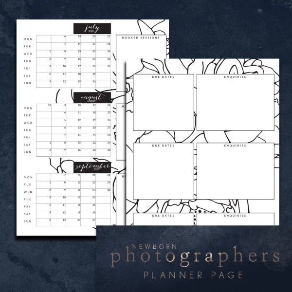newborn photographers 6 months ahead planner page - 3 months per spread peony Jul-Dec 2020