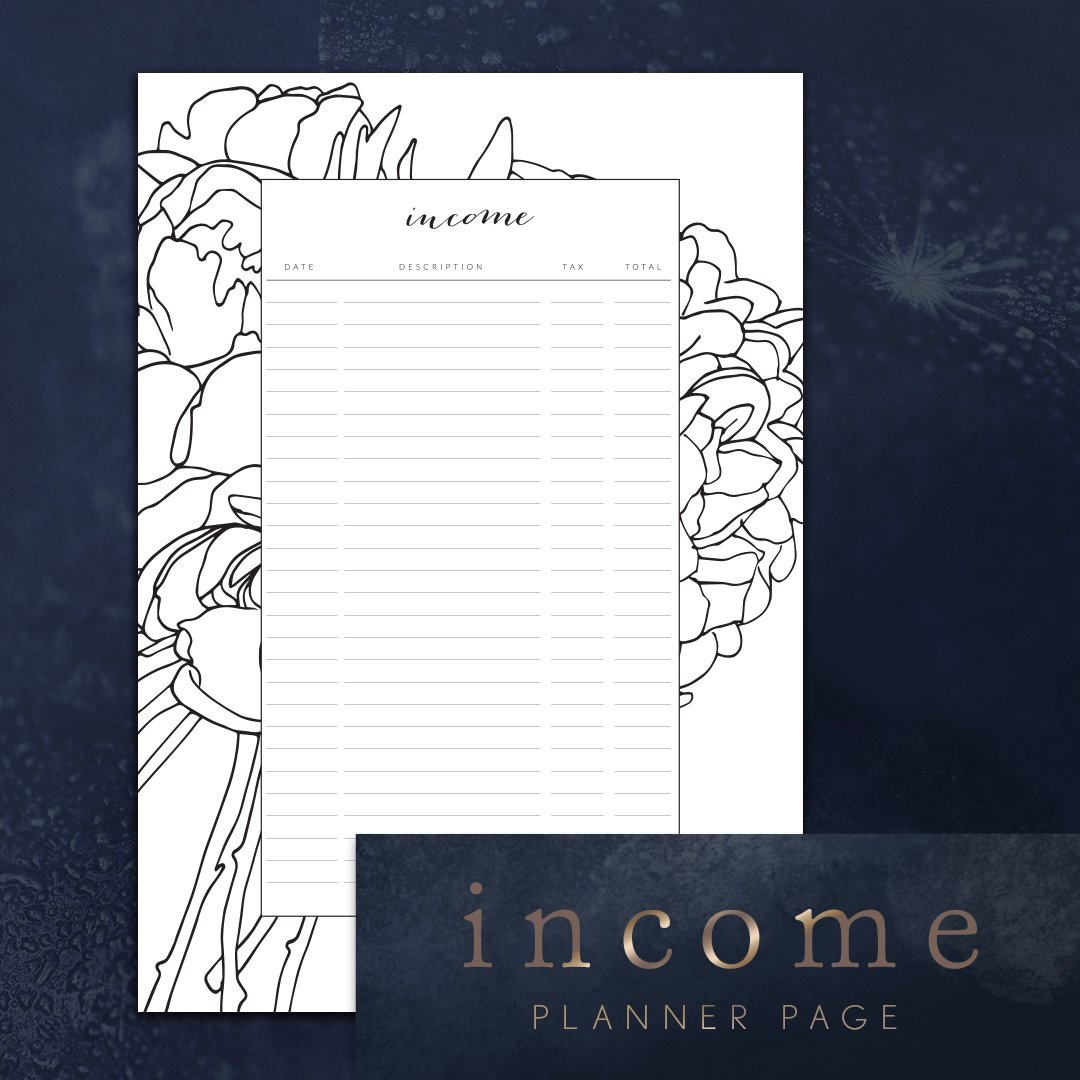 income tracker planner page