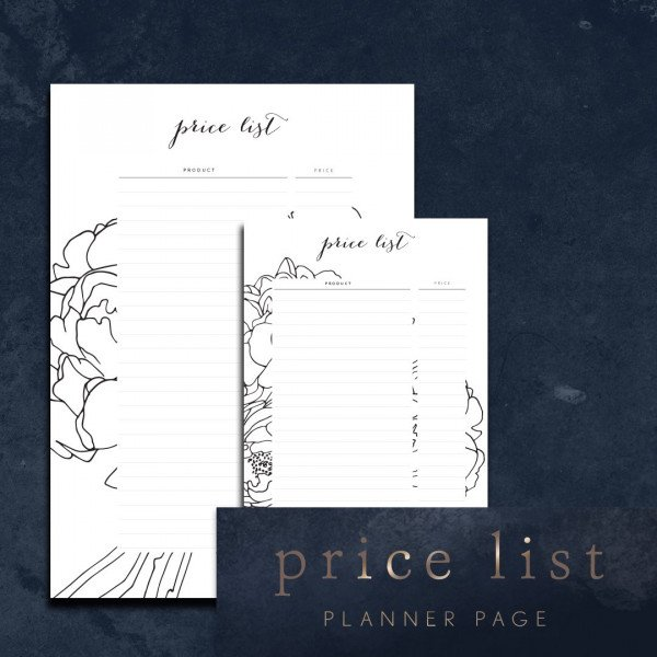 Product Price List Planner Page
