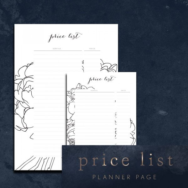 Services Price List Planner Page