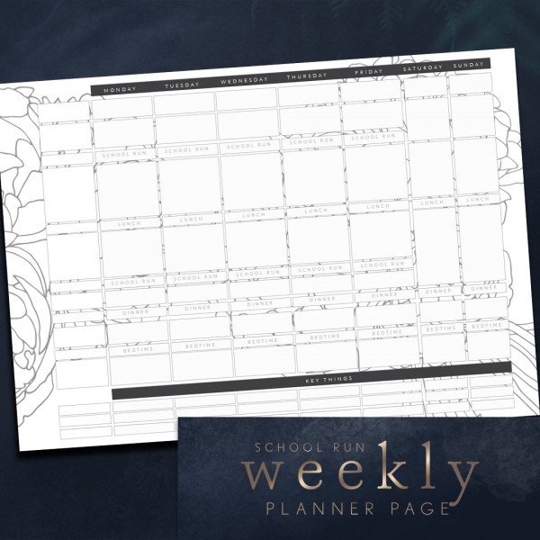 week ahead planner mum school run peony